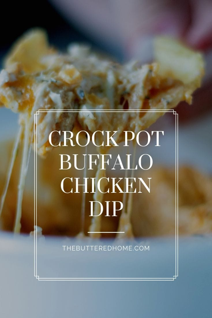 Crock Pot Buffalo Chicken Dip is an easy appetizer all your folks will love. A creamy, cheesy small bite that pops with a kick of hot sauce. This dip will be your favorite easy tailgate appetizer to make AND eat! #buffalochickendip #crockpotcooking #dip #tailgatingfood