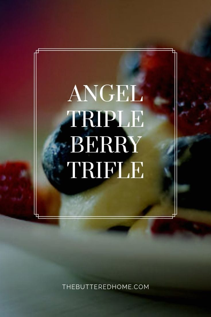 Angel Triple Berry Trifle takes the best berries summer has to offer and makes them into this creamy, beautiful dessert. Fast and easy, delicious and beautiful. #trilfe #angelfoodcaketrifle #berrytrifle #angelberrytrifle