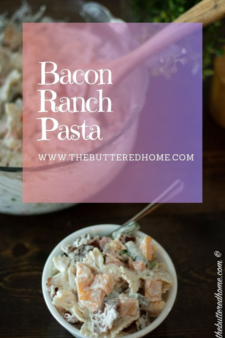 Bacon Ranch Pasta. A perfect all in one meal or a show stopper side dish. Creamy ranch and smoky bacon add the perfect touch to the bow tie pasta. The cheese make this an instant kid favorite and a yummy, sneaky way to get their veggies in. #baconranchpasta #pastasalad #bacon #ranch