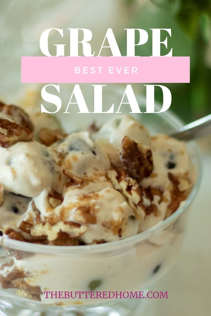 Best Ever Grape Salad. An unexpected surprise of tangy and sweet. This creamy salad is filled with green and red grape goodness. Sweetened with a creamy pudding and cream as well as the crunch of pecans and brown sugar. #grapesaladrecipe #grapesalad #grapes