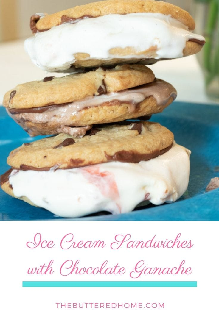 Ice Cream Sandwiches with Chocolate Ganache take an ordinary serving of ice cream and dress it up to party! Sweet and crispy chocolate ganache makes this party time dessert and dresses it up with superb sweetness! #icecreamsandwiches #chocolateganache #easydessert #semihomemadedessert