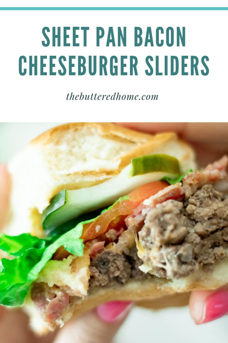 Sheet Pan Bacon Cheeseburger Sliders will change the way you do burgers! Neat and tidy in a small package, layers of meat and cheese capped off with crispy bacon will quickly become your favorite no frills, no grill recipe! #sheetpanburgers, #baconcheeseburgersliders #sliders